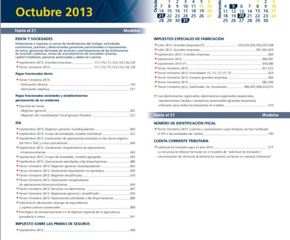 calendario de tributacion